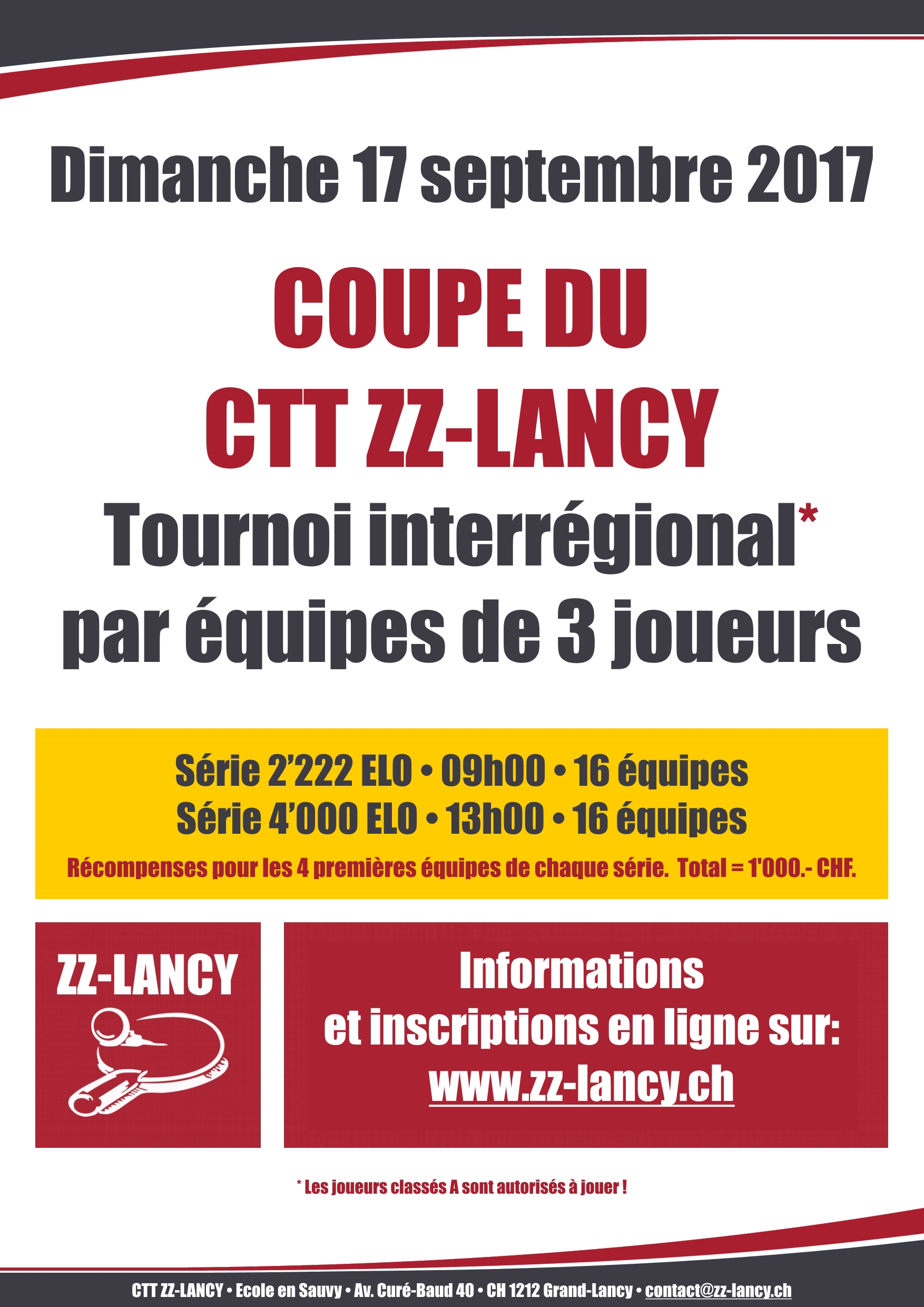 Affiche Coupe CTT ZZ Lancy sept 2017